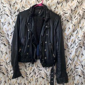 "FreePeople ""Ashville"" Black Faux Leather Jacket"